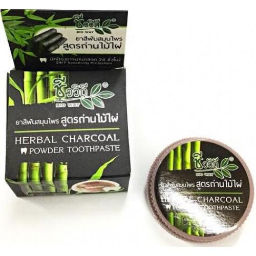 Зубная паста с бамбуковым углем BIO WAY Herbal charcoal powder toothpaste 25 гр