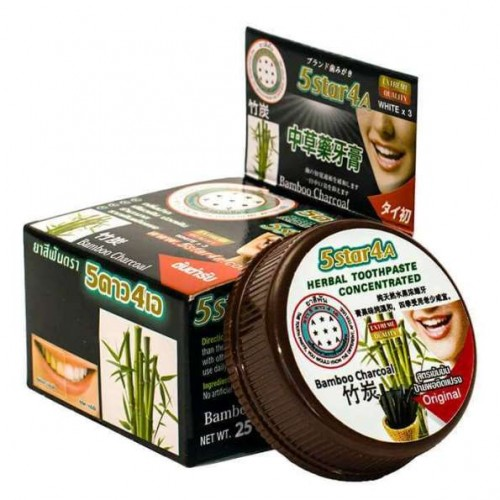 Зубная паста с бамбуковым углем 5Star4A Bamboo Charcoal Herbal Toothpaste Concetrated 25 гр